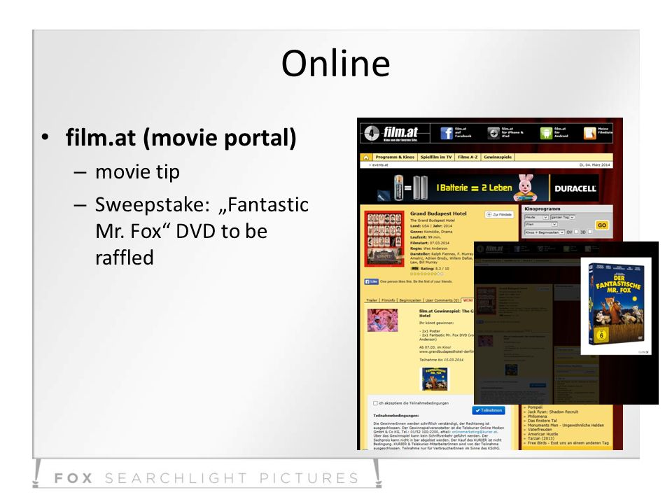 Online film.at (movie portal) – movie tip – Sweepstake: Fantastic Mr. Fox DVD to be raffled
