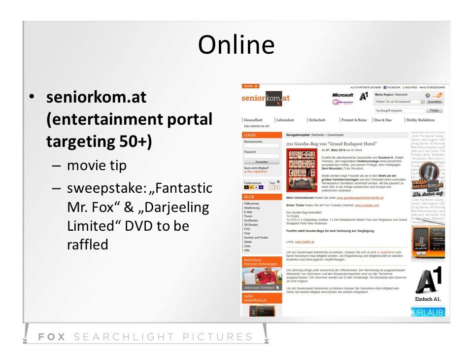 Online seniorkom.at (entertainment portal targeting 50+) – movie tip – sweepstake: Fantastic Mr.