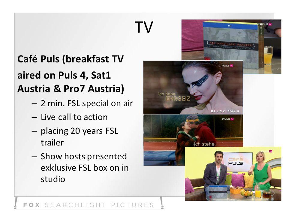 TV Café Puls (breakfast TV aired on Puls 4, Sat1 Austria & Pro7 Austria) – 2 min.