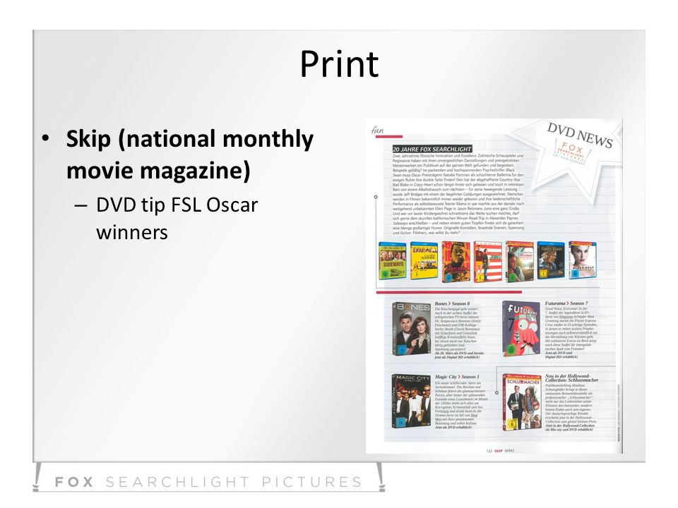 Print Skip (national monthly movie magazine) – DVD tip FSL Oscar winners