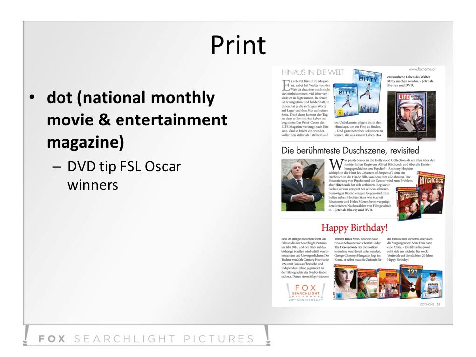 Print dot (national monthly movie & entertainment magazine) – DVD tip FSL Oscar winners