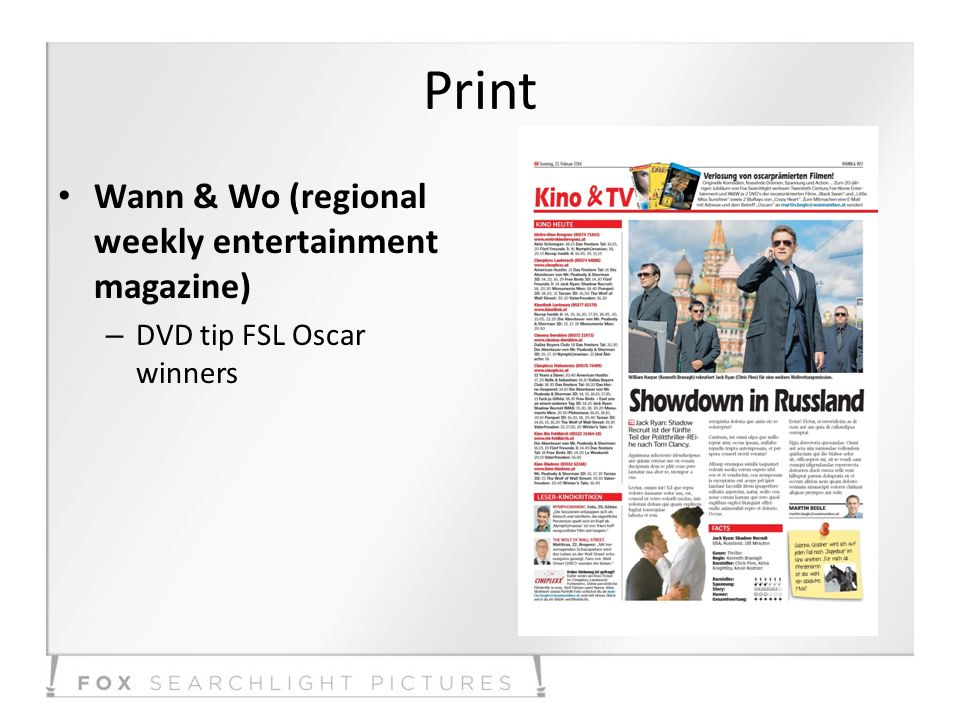 Print Wann & Wo (regional weekly entertainment magazine) – DVD tip FSL Oscar winners