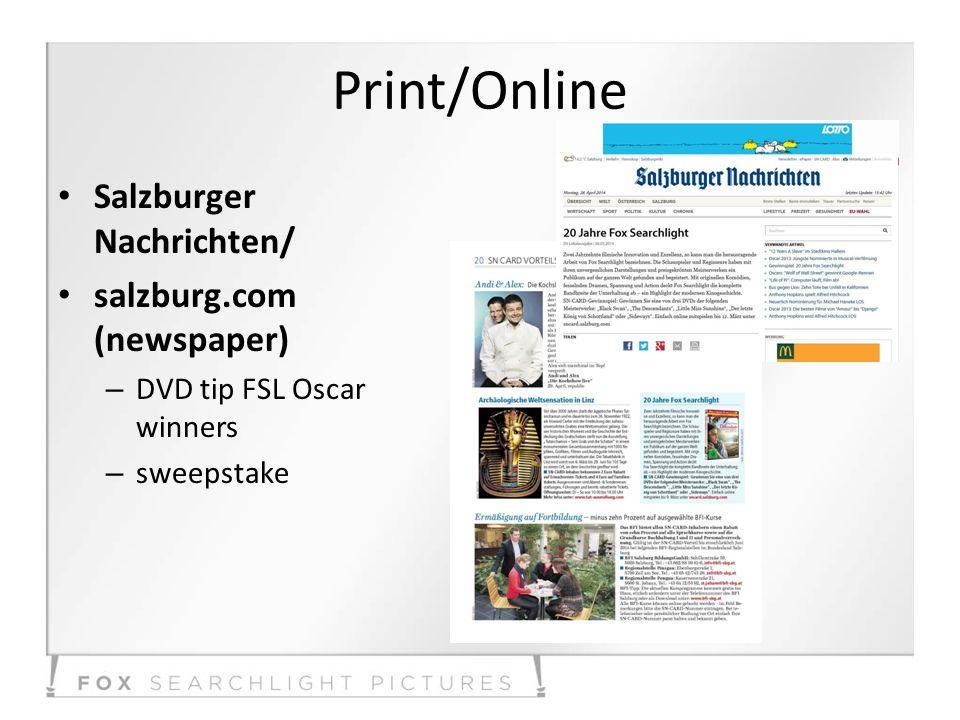 Print/Online Salzburger Nachrichten/ salzburg.com (newspaper) – DVD tip FSL Oscar winners – sweepstake