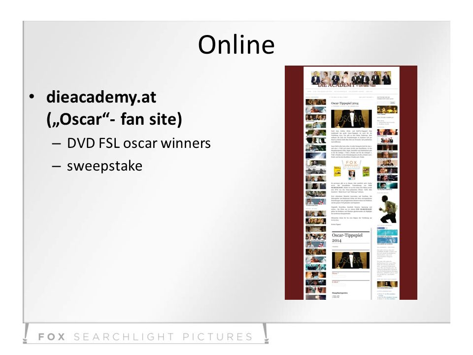 Online dieacademy.at (Oscar- fan site) – DVD FSL oscar winners – sweepstake