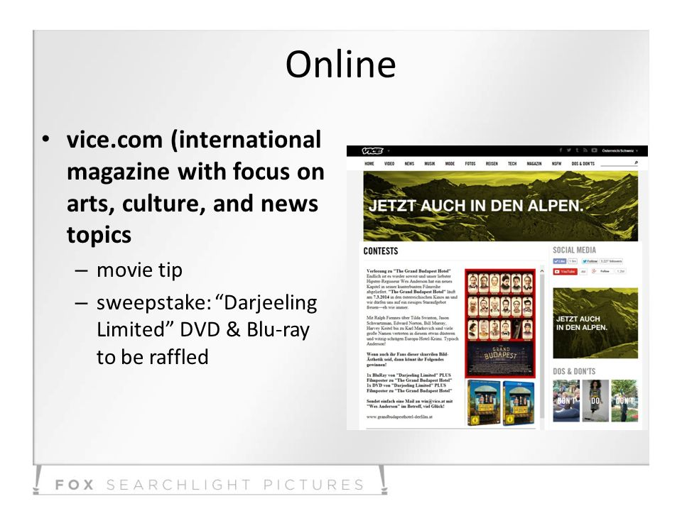 Online vice.com (international magazine with focus on arts, culture, and news topics – movie tip – sweepstake: Darjeeling Limited DVD & Blu-ray to be