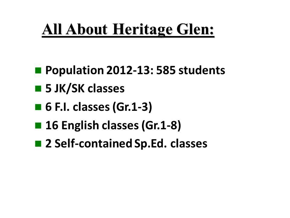 All About Heritage Glen: Population 2012-13: 585 students 5 JK/SK classes 6 F.I.