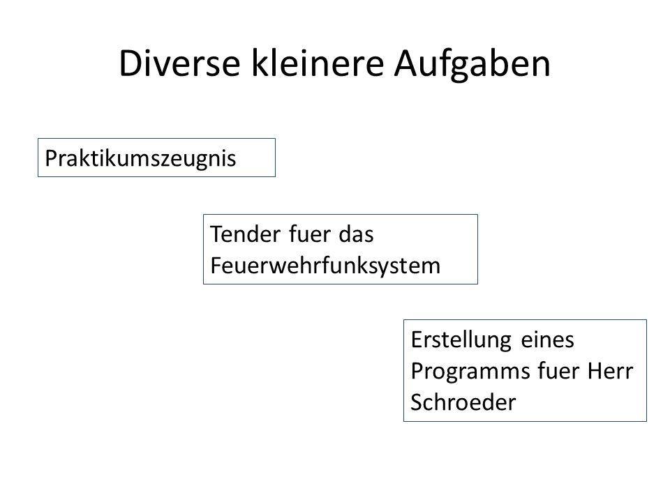 Diverse kleinere Aufgaben Praktikumszeugnis Tender fuer das Feuerwehrfunksystem Erstellung eines Programms fuer Herr Schroeder