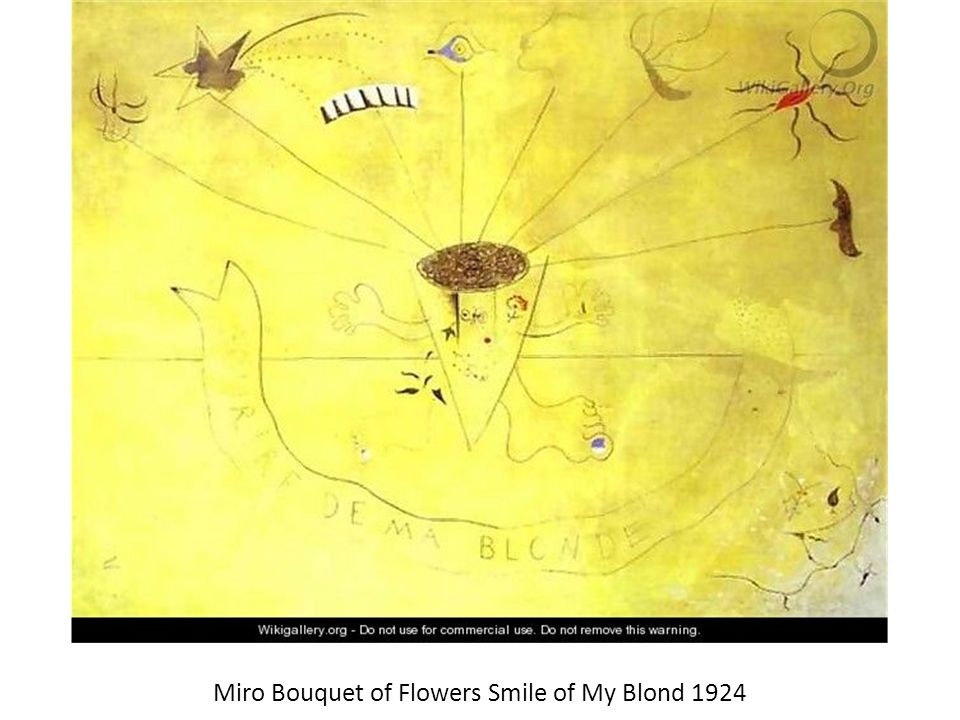 Miro Bouquet of Flowers Smile of My Blond 1924