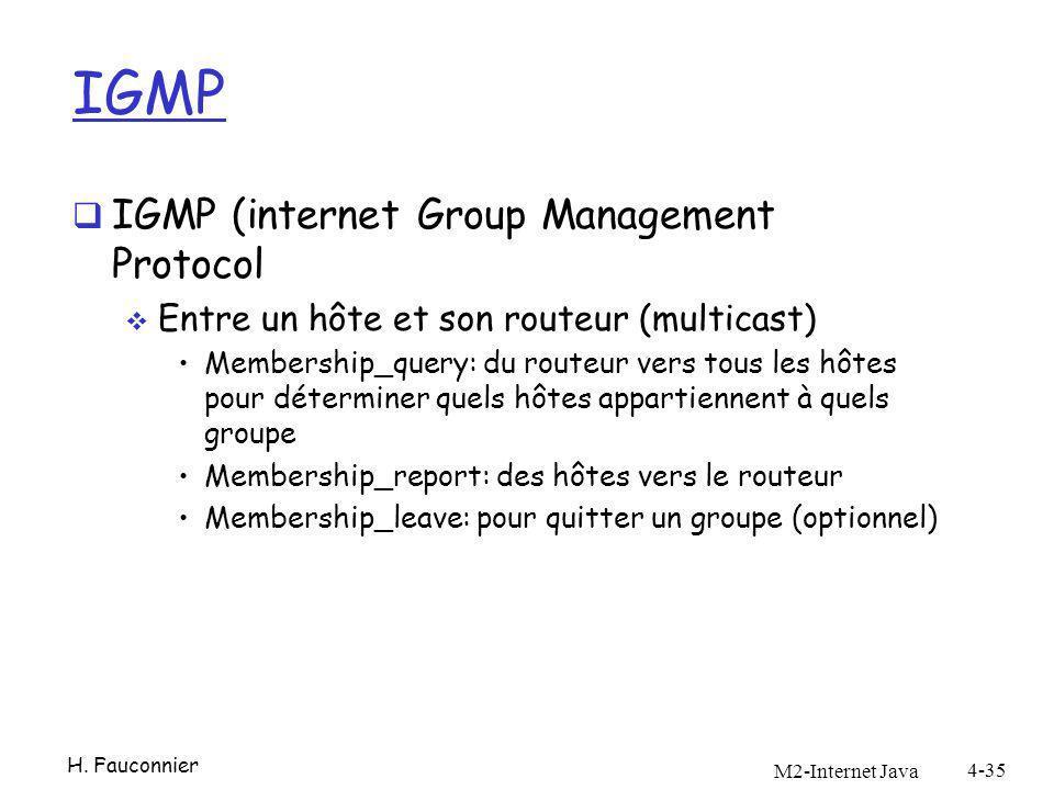 IGMP IGMP (internet Group Management Protocol Entre un hôte et son routeur (multicast) Membership_query: du routeur vers tous les hôtes pour déterminer quels hôtes appartiennent à quels groupe Membership_report: des hôtes vers le routeur Membership_leave: pour quitter un groupe (optionnel) M2-Internet Java 4-35 H.