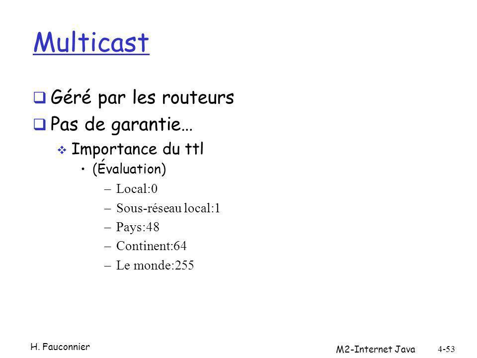 Multicast Géré par les routeurs Pas de garantie… Importance du ttl (Évaluation) –Local:0 –Sous-réseau local:1 –Pays:48 –Continent:64 –Le monde:255 M2-Internet Java 4-53 H.