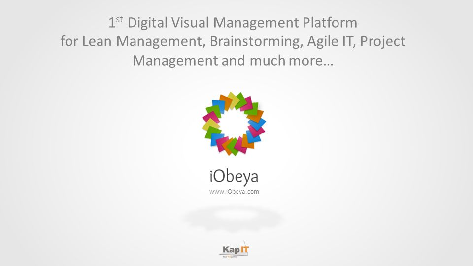 www.iObeya.com 1 st Digital Visual Management Platform for Lean Management, Brainstorming, Agile IT, Project Management and much more…
