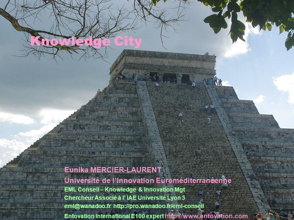 EML 17.12.20031 Knowledge City Eunika MERCIER-LAURENT Université de lInnovation Euroméditerranéenne EML Conseil – Knowledge & Innovation Mgt Chercheur