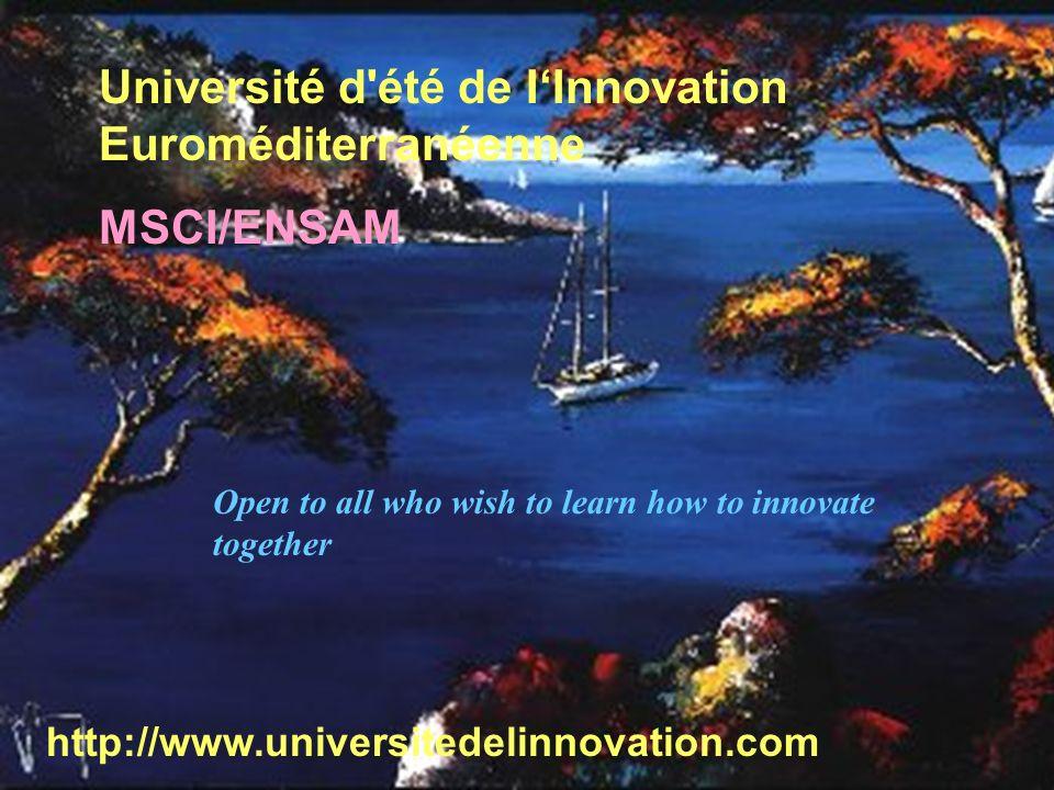 EML 17.12.20035 Université d'été de IInnovation Euroméditerranéenne MSCI/ENSAM http://www.universitedelinnovation.com Open to all who wish to learn ho