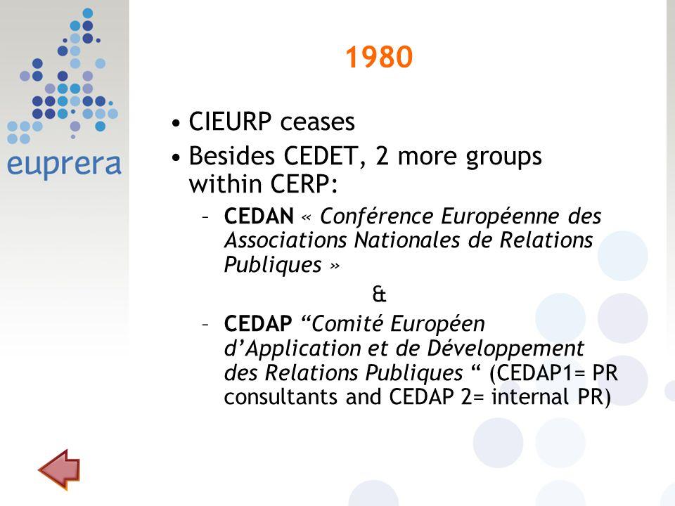 1980 CIEURP ceases Besides CEDET, 2 more groups within CERP: –CEDAN « Conférence Européenne des Associations Nationales de Relations Publiques » & –CEDAP Comité Européen dApplication et de Développement des Relations Publiques (CEDAP1= PR consultants and CEDAP 2= internal PR)