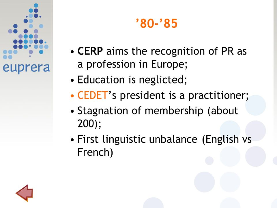 80-85 CERP aims the recognition of PR as a profession in Europe; Education is neglicted; CEDETs president is a practitioner; Stagnation of membership (about 200); First linguistic unbalance (English vs French)