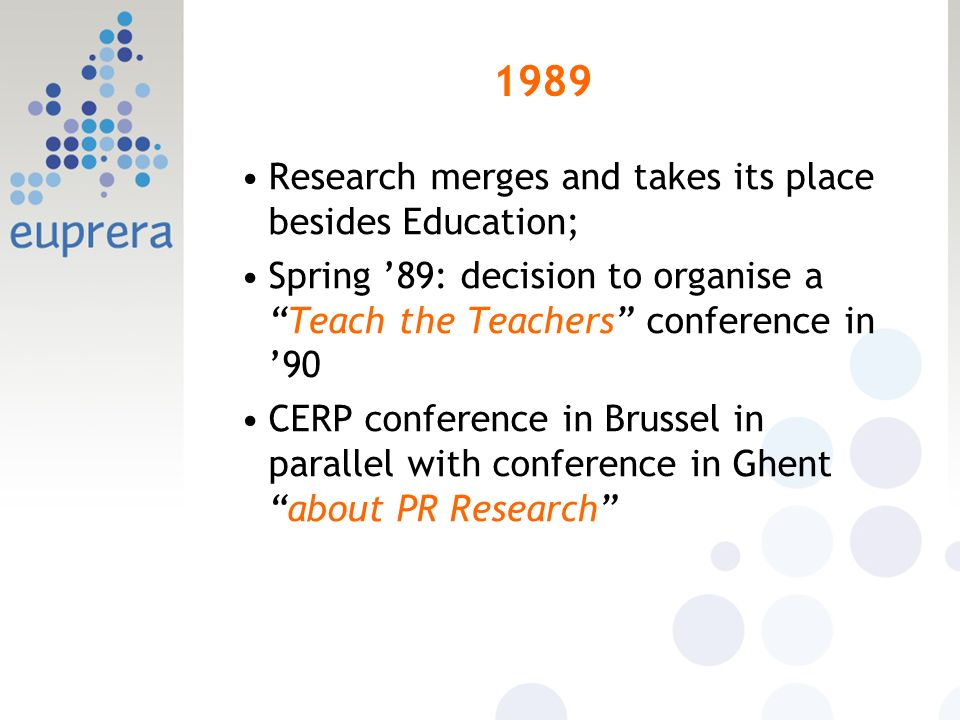 1989 Research merges and takes its place besides Education; Spring 89: decision to organise aTeach the Teachers conference in 90 CERP conference in Brussel in parallel with conference in Ghentabout PR Research