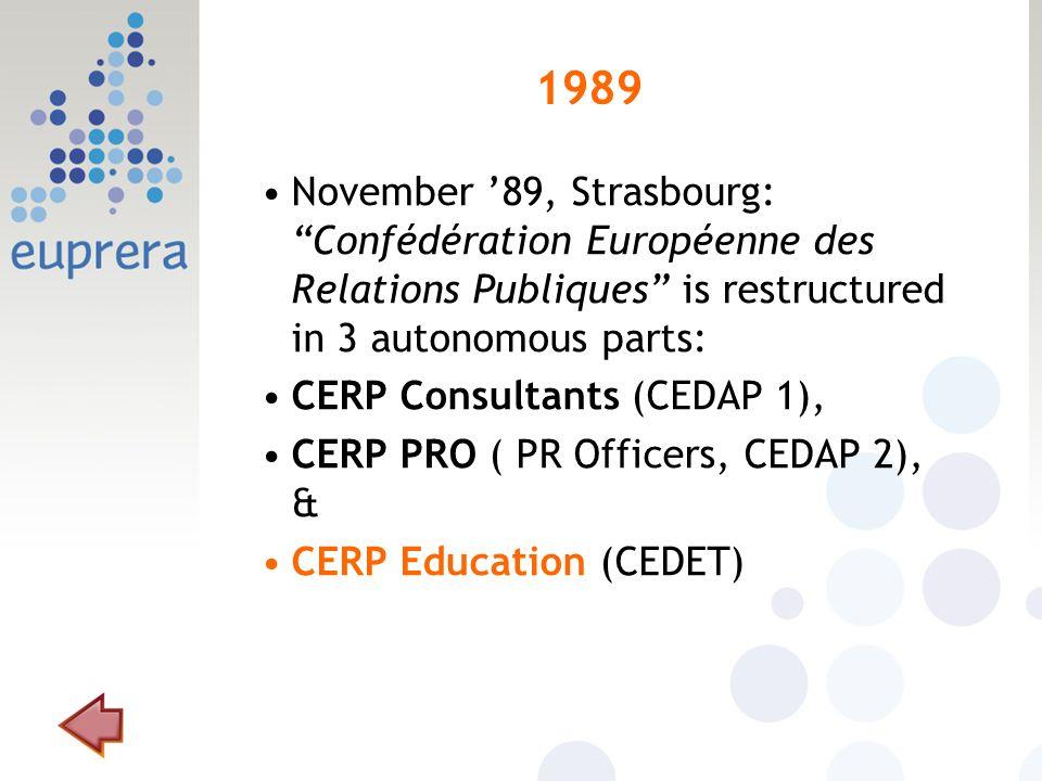 1989 November 89, Strasbourg: Confédération Européenne des Relations Publiques is restructured in 3 autonomous parts: CERP Consultants (CEDAP 1), CERP PRO ( PR Officers, CEDAP 2), & CERP Education (CEDET)