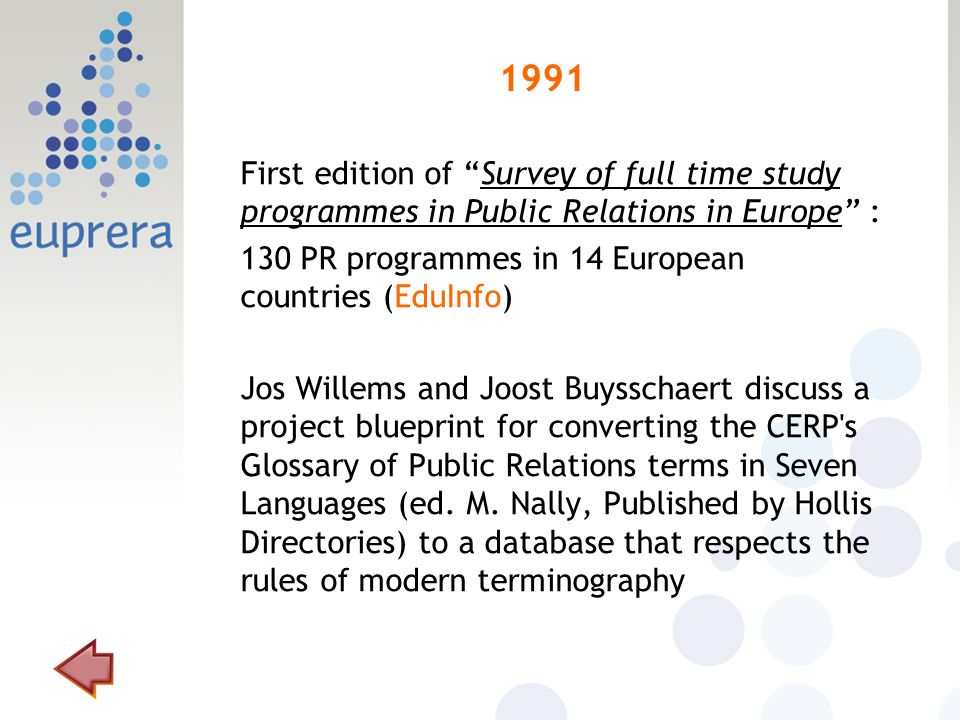 1991 First edition of Survey of full time study programmes in Public Relations in Europe : 130 PR programmes in 14 European countries (EduInfo) Jos Willems and Joost Buysschaert discuss a project blueprint for converting the CERP s Glossary of Public Relations terms in Seven Languages (ed.