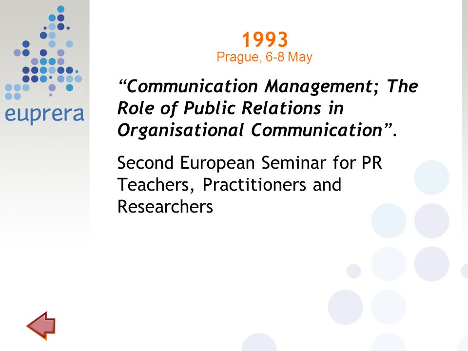 1993 Communication Management; The Role of Public Relations in Organisational Communication. Second European Seminar for PR Teachers, Practitioners an