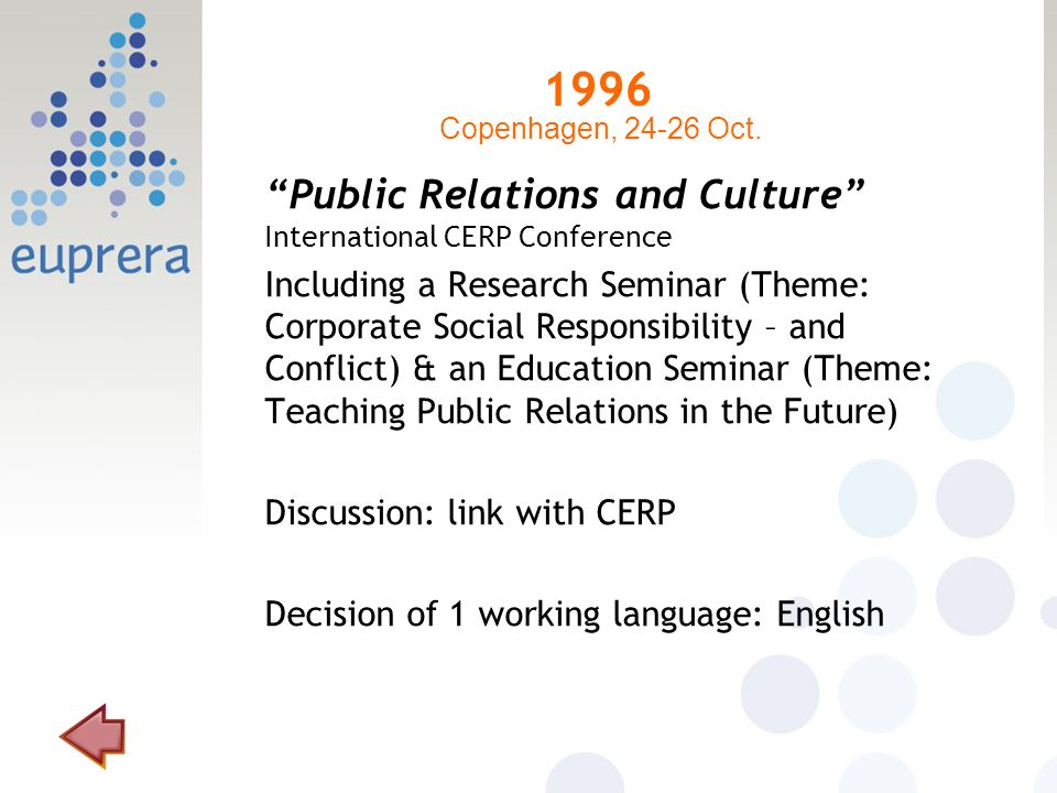 1996 Public Relations and Culture International CERP Conference Including a Research Seminar (Theme: Corporate Social Responsibility – and Conflict) & an Education Seminar (Theme: Teaching Public Relations in the Future) Discussion: link with CERP Decision of 1 working language: English Copenhagen, 24-26 Oct.