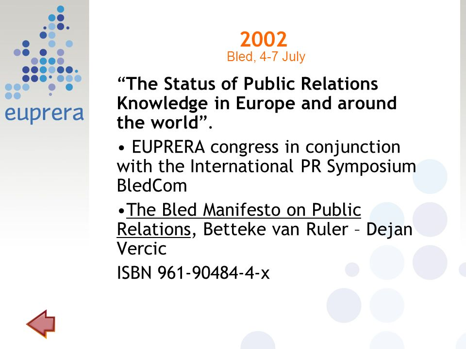 2002 The Status of Public Relations Knowledge in Europe and around the world. EUPRERA congress in conjunction with the International PR Symposium Bled
