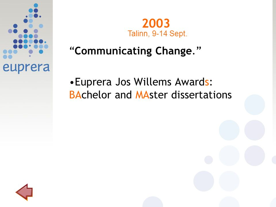 2003 Communicating Change. Euprera Jos Willems Awards: BAchelor and MAster dissertations Talinn, 9-14 Sept.