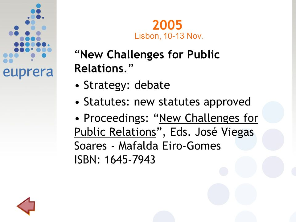 2005 New Challenges for Public Relations. Strategy: debate Statutes: new statutes approved Proceedings: New Challenges for Public Relations, Eds. José