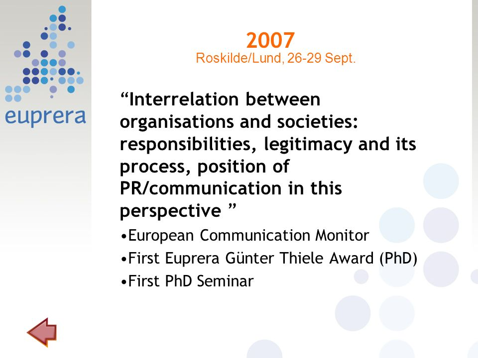 2007 Interrelation between organisations and societies: responsibilities, legitimacy and its process, position of PR/communication in this perspective European Communication Monitor First Euprera Günter Thiele Award (PhD) First PhD Seminar Roskilde/Lund, 26-29 Sept.