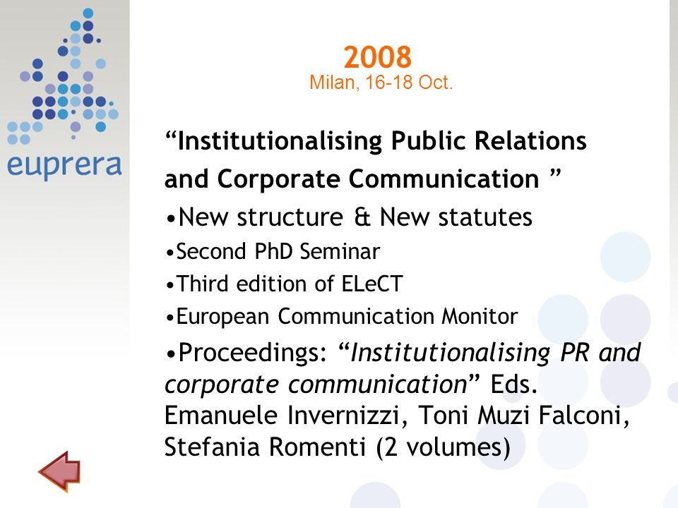 2008 Institutionalising Public Relations and Corporate Communication New structure & New statutes Second PhD Seminar Third edition of ELeCT European C