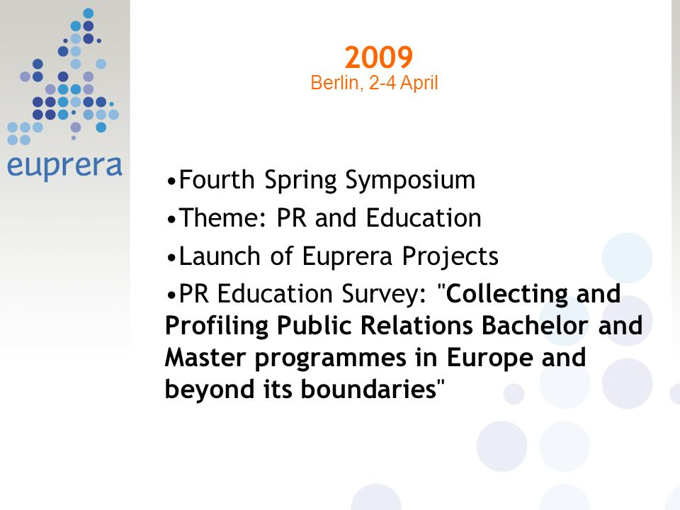 2009 Fourth Spring Symposium Theme: PR and Education Launch of Euprera Projects PR Education Survey: Collecting and Profiling Public Relations Bachelor and Master programmes in Europe and beyond its boundaries Berlin, 2-4 April