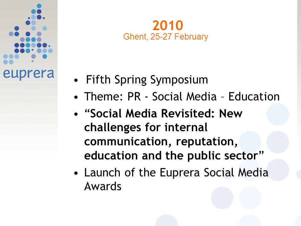 2010 Fifth Spring Symposium Theme: PR - Social Media – Education Social Media Revisited: New challenges for internal communication, reputation, educat