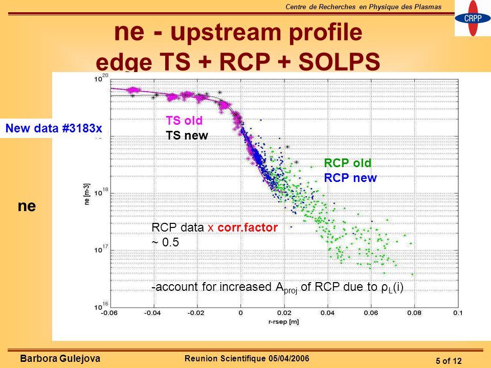Reunion Scientifique 05/04/2006 Centre de Recherches en Physique des Plasmas 5 of 12 Barbora Gulejova ne - u pstream profile edge TS + RCP + SOLPS Old