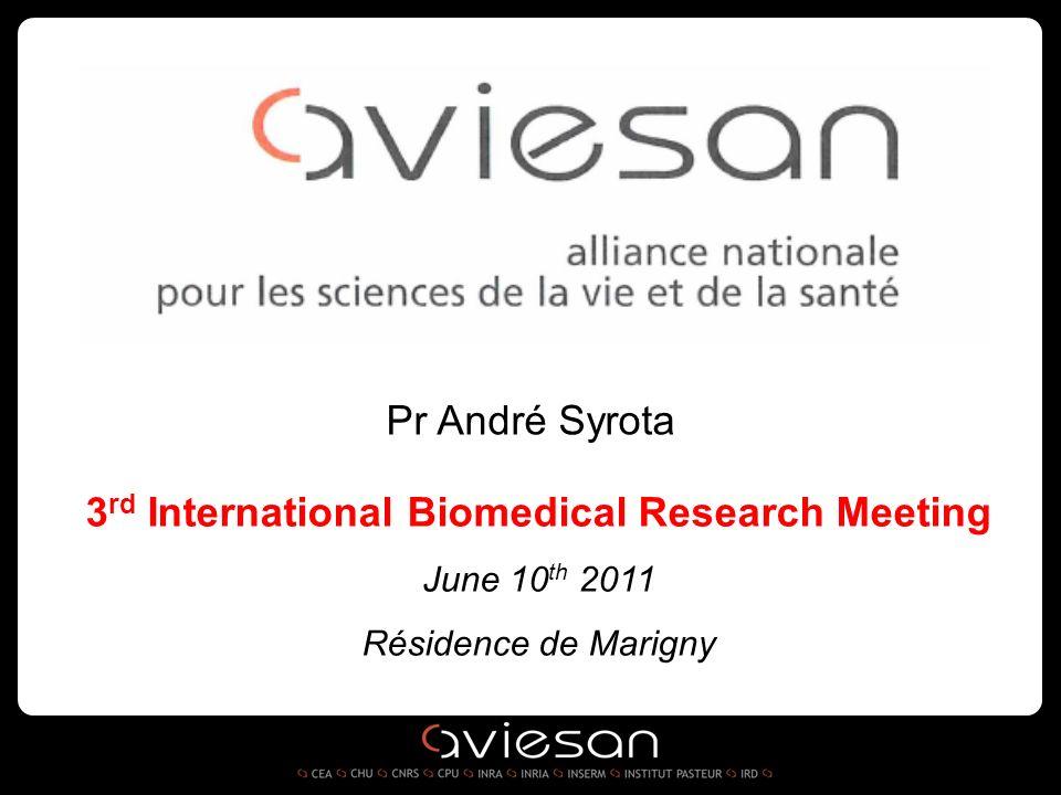3 rd International Biomedical Research Meeting June 10 th 2011 Résidence de Marigny Pr André Syrota