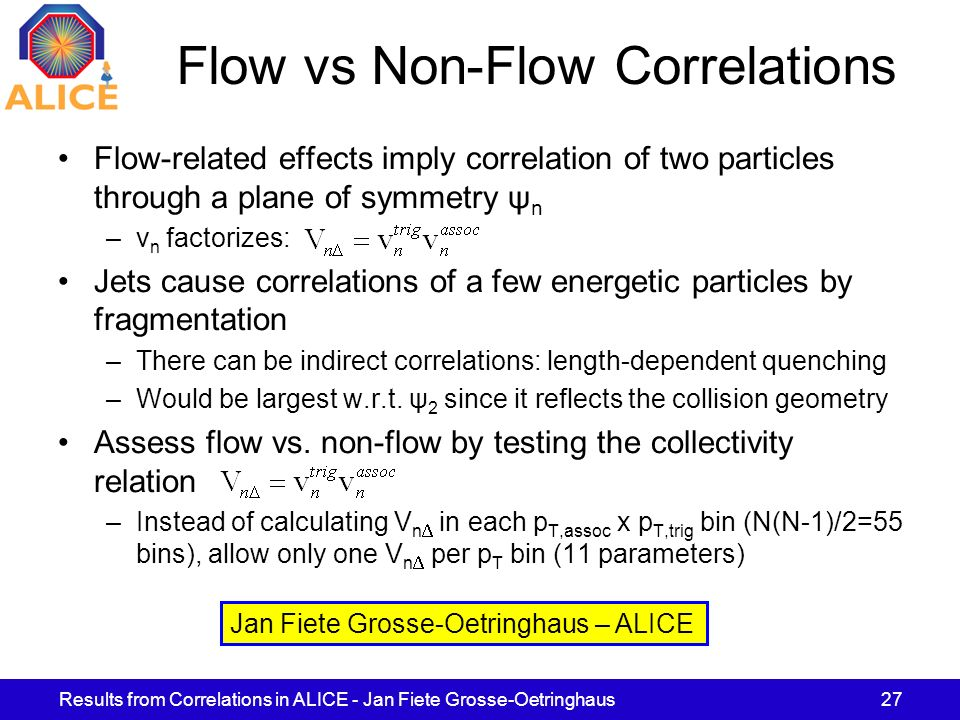 Results from Correlations in ALICE - Jan Fiete Grosse-Oetringhaus27 Flow vs Non-Flow Correlations Flow-related effects imply correlation of two partic