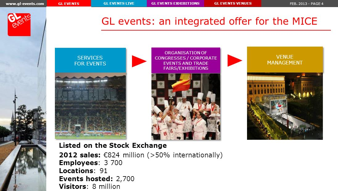 www.gl-events.com FEB. 2013 - PAGE 15 GL EVENTS EXHIBITIONSGL EVENTS VENUESGL EVENTS LIVE GL EVENTS