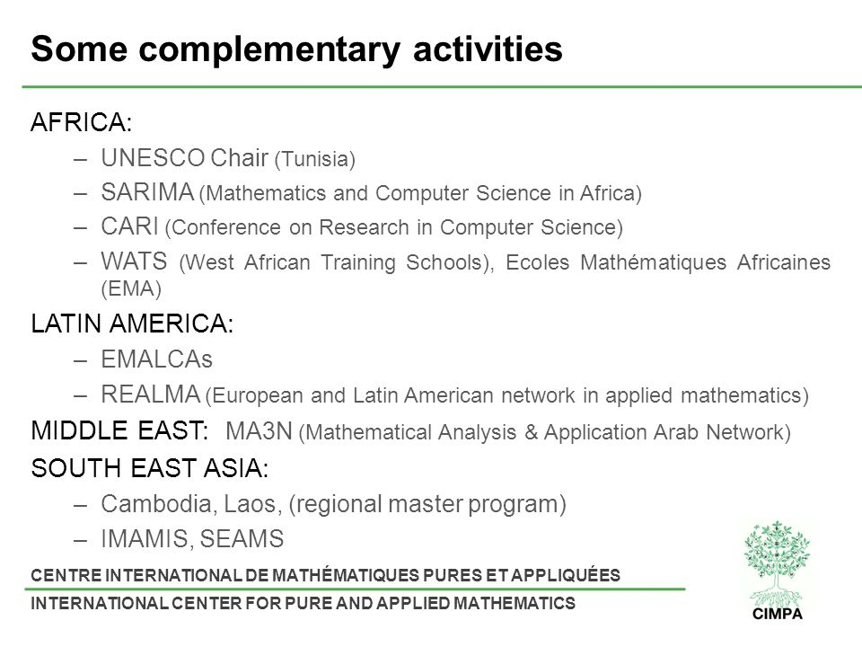 CENTRE INTERNATIONAL DE MATHÉMATIQUES PURES ET APPLIQUÉES INTERNATIONAL CENTER FOR PURE AND APPLIED MATHEMATICS Some complementary activities AFRICA: