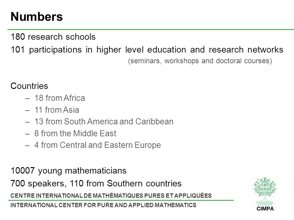 CENTRE INTERNATIONAL DE MATHÉMATIQUES PURES ET APPLIQUÉES INTERNATIONAL CENTER FOR PURE AND APPLIED MATHEMATICS Numbers 180 research schools 101 parti