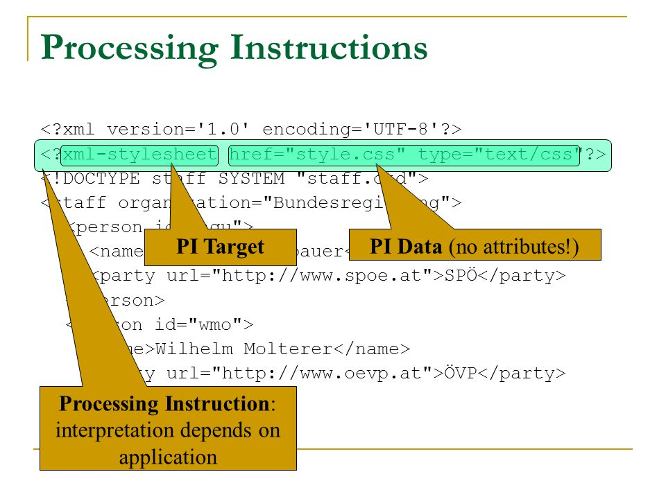 Alfred Gusenbauer SPÖ Wilhelm Molterer ÖVP Processing Instructions Processing Instruction: interpretation depends on application PI Target PI Data (no attributes!)