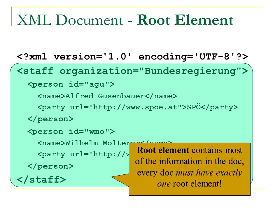 XML Document - Root Element Alfred Gusenbauer SPÖ Wilhelm Molterer ÖVP Root element contains most of the information in the doc, every doc must have exactly one root element!