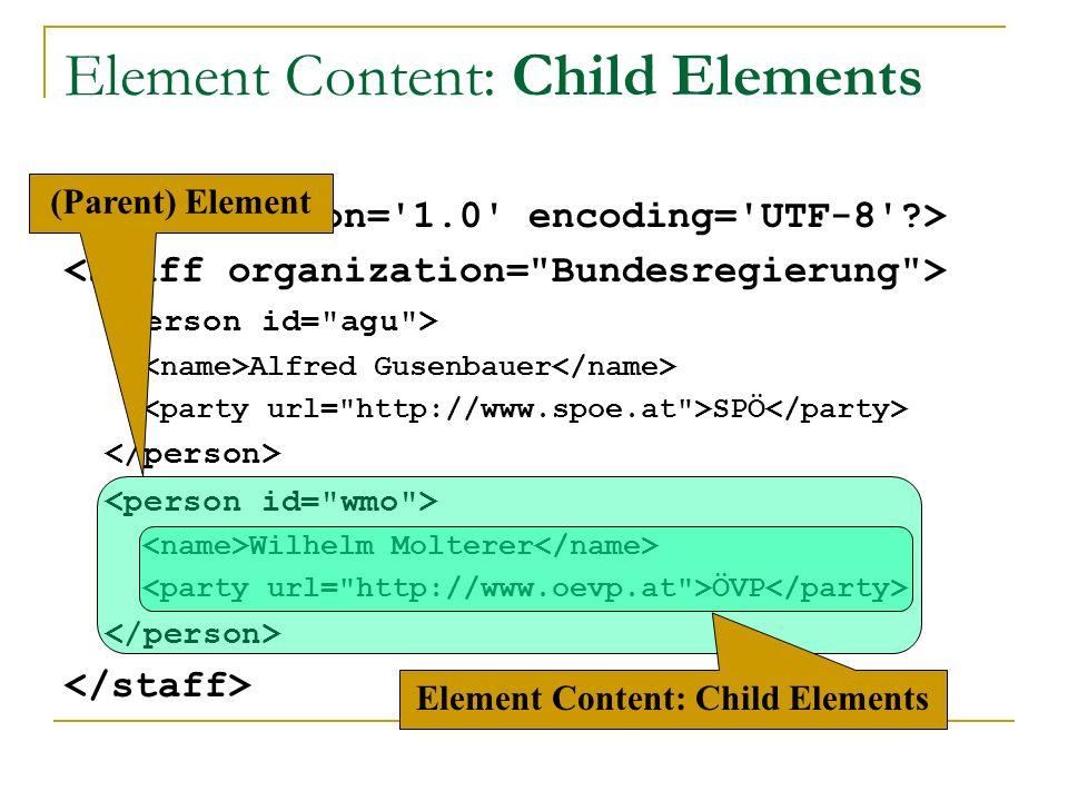 Alfred Gusenbauer SPÖ Wilhelm Molterer ÖVP Element Content: Child Elements (Parent) Element