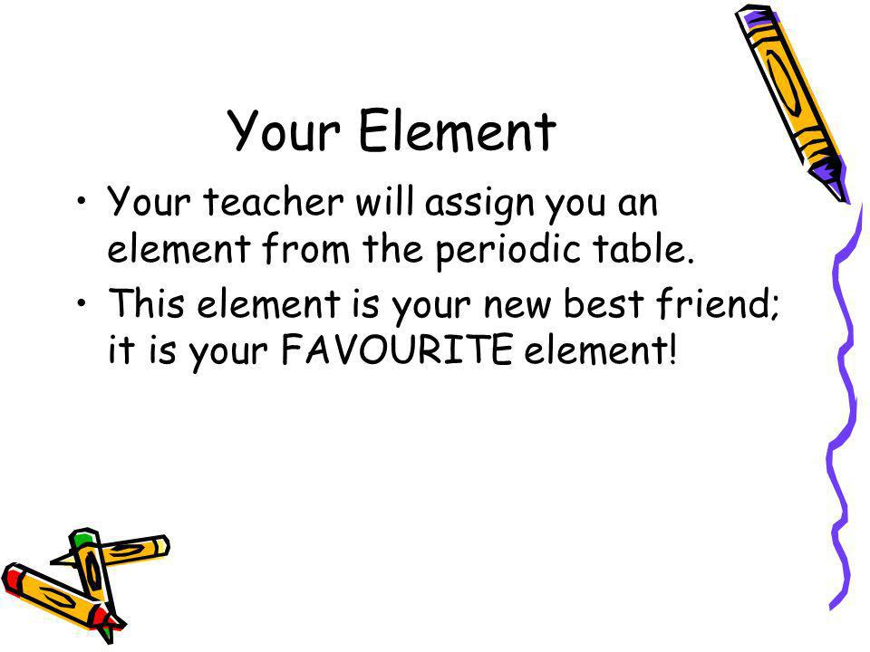 Your Element Your teacher will assign you an element from the periodic table. This element is your new best friend; it is your FAVOURITE element!