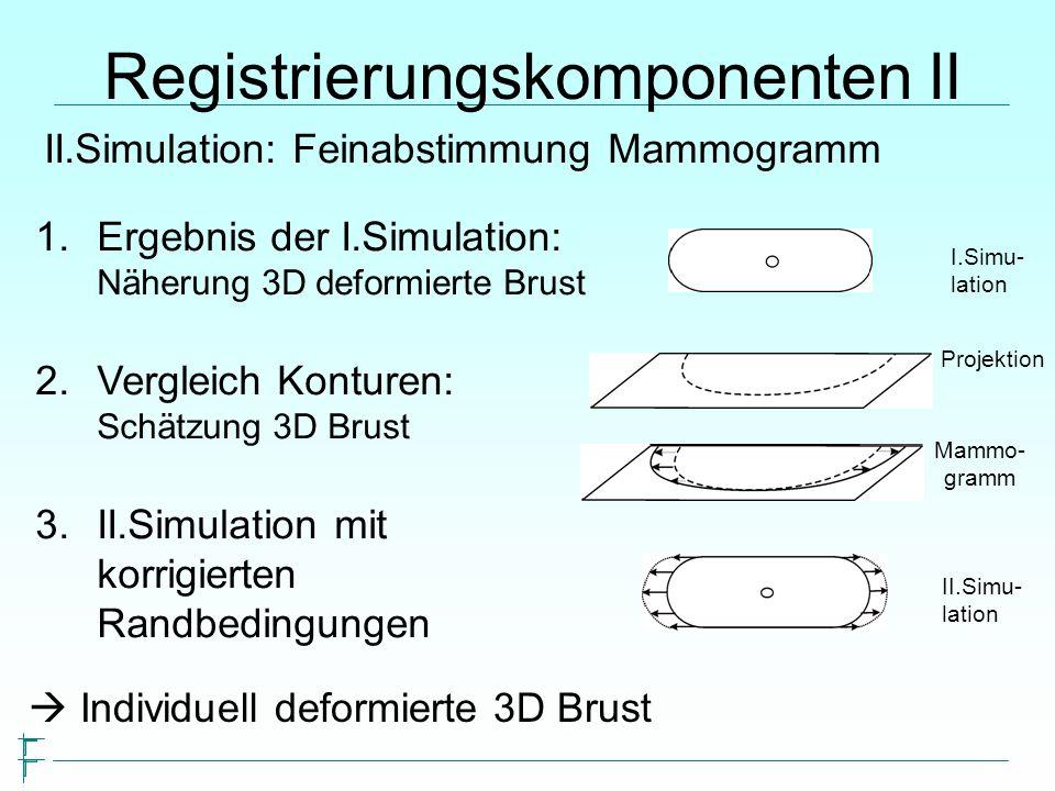 Registrierungskomponenten II II.Simulation: Feinabstimmung Mammogramm 1.Ergebnis der I.Simulation: Näherung 3D deformierte Brust 2.Vergleich Konturen: Schätzung 3D Brust 3.II.Simulation mit korrigierten Randbedingungen Mammo- gramm I.Simu- lation II.Simu- lation Individuell deformierte 3D Brust Projektion
