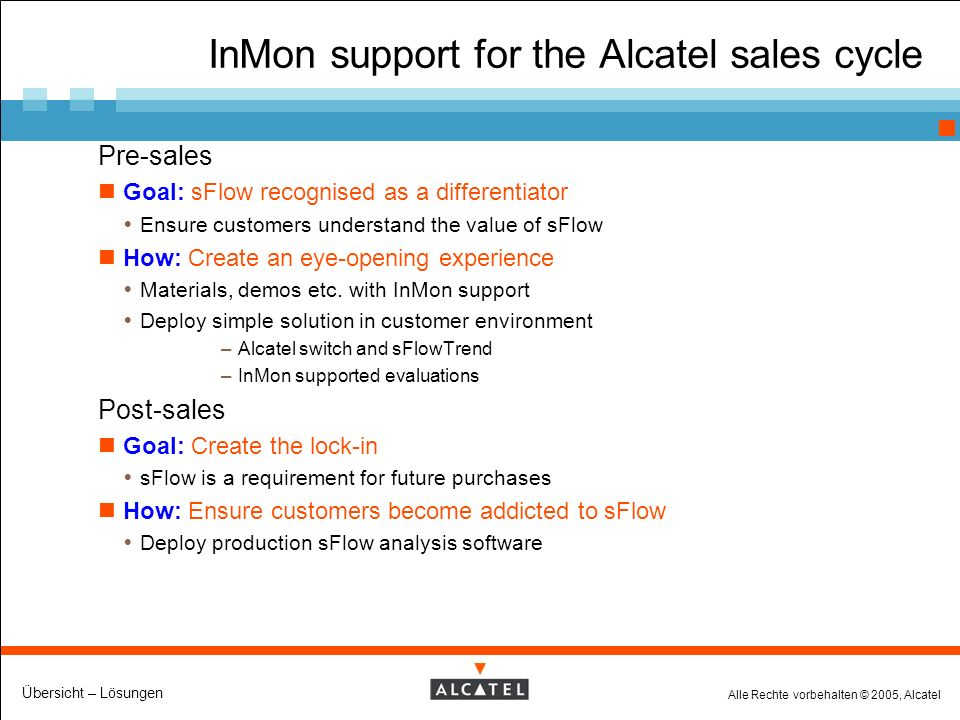 Alle Rechte vorbehalten © 2005, Alcatel Übersicht – Lösungen InMon support for the Alcatel sales cycle Pre-sales Goal: sFlow recognised as a differentiator Ensure customers understand the value of sFlow How: Create an eye-opening experience Materials, demos etc.