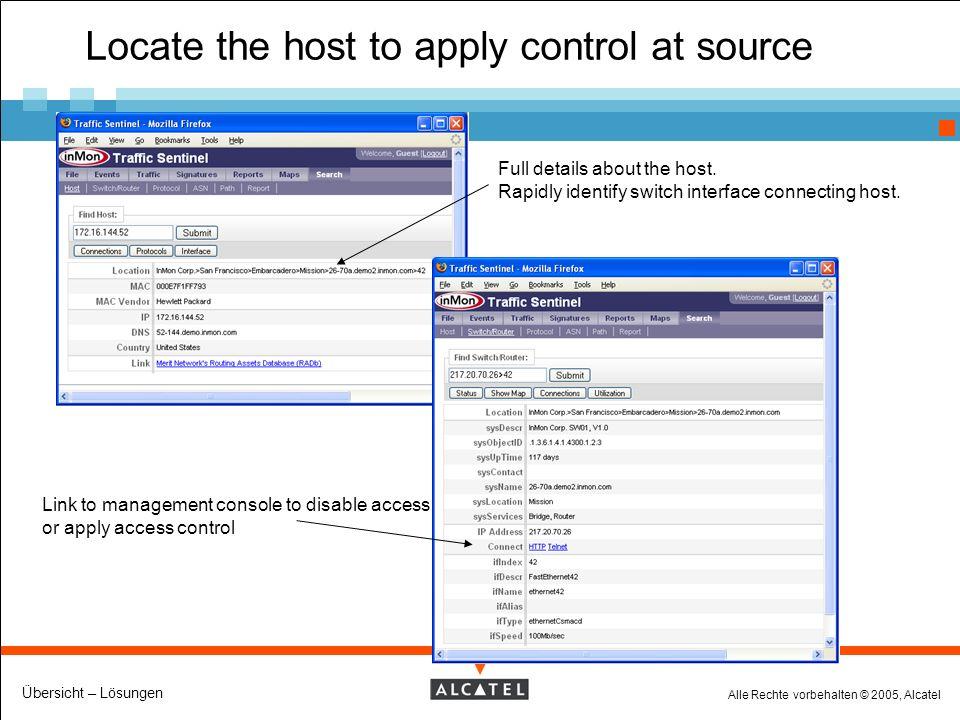 Alle Rechte vorbehalten © 2005, Alcatel Übersicht – Lösungen Locate the host to apply control at source Full details about the host.