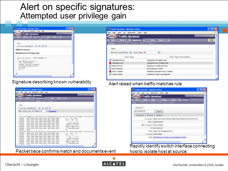 Alle Rechte vorbehalten © 2005, Alcatel Übersicht – Lösungen Alert on specific signatures: Attempted user privilege gain Signature describing known vulnerability Alert raised when traffic matches rule Packet trace confirms match and documents event Rapidly identify switch interface connecting host to isolate host at source.