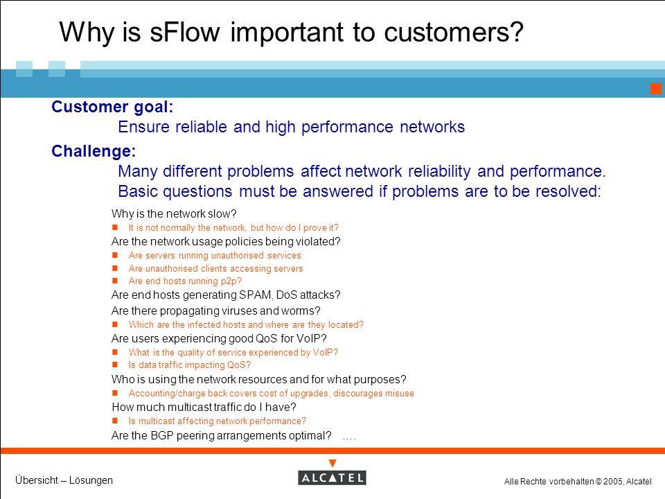 Alle Rechte vorbehalten © 2005, Alcatel Übersicht – Lösungen Why is sFlow important to customers.