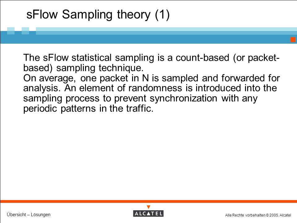 Alle Rechte vorbehalten © 2005, Alcatel Übersicht – Lösungen sFlow Sampling theory (1) The sFlow statistical sampling is a count-based (or packet- based) sampling technique.