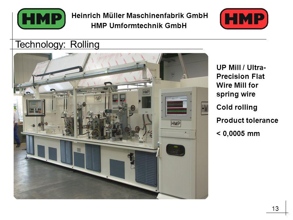13 Heinrich Müller Maschinenfabrik GmbH HMP Umformtechnik GmbH Technology: Rolling UP Mill / Ultra- Precision Flat Wire Mill for spring wire Cold roll