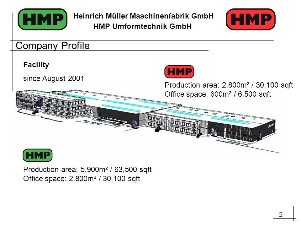 3 Heinrich Müller Maschinenfabrik GmbH HMP Umformtechnik GmbH The HMP Group, as of 2011 Heinrich Müller Maschinenfabrik GmbH (Machinery, Tools, Service) Established:1906Employees:110 HMP Umformtechnik GmbH (Component Production, Europe) Established:2002Employees:45 HMP Webco (Joint Venture – Component Production, NAFTA) Established:2007 HMP Asia (Sales and Development of Machinery) Established:2009Employees:3 Company Profile