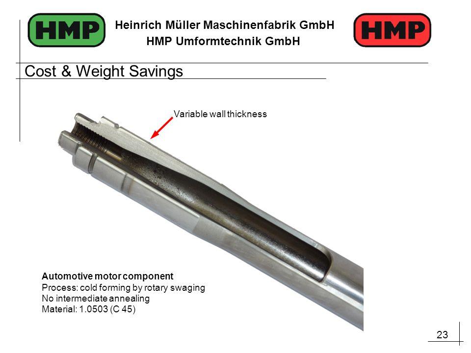 23 Heinrich Müller Maschinenfabrik GmbH HMP Umformtechnik GmbH Automotive motor component Process: cold forming by rotary swaging No intermediate anne